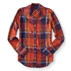 Aeropostale Long Sleeve Plaid Woven Flannel Shirt